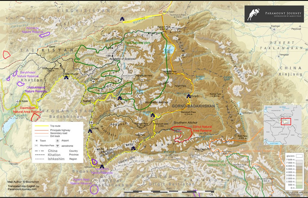 Map of the Pamir Highway jeep tour journey in Tajikistan, route and map of the Pamirs mountains