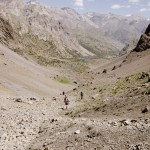 Trekking towards Mutnoe Lake (Muddy lake), Fann Mountains