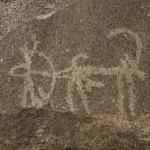 Hunter and Marco Polo sheep in Petroglyph in langar Village, Wakhan Valley, Pamir, Tajikistan