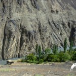 Mountain slope and river in Zarafshan Valley, Tajikistan