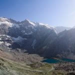 Dushokha Lake under Chimtarga Summit in Fann Mountains